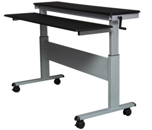 "Stand Up Desk Store 60"" Crank Steel Adjustable Sit to Stand Up Desk"
